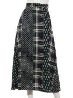 ストライプパッチワークプリントスカート