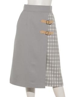 配色巻き風スカート
