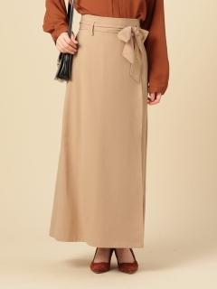 ベルト付きラップ風スカート