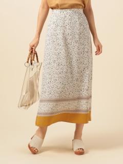 花柄裾ボーダーロングスカート