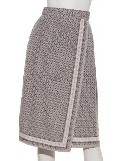 小紋パネルラップスカート