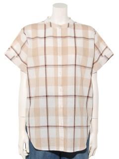 チェックロングスタンドシャツ