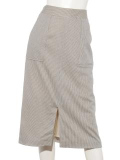 ポケット付ストライプタイトスカート