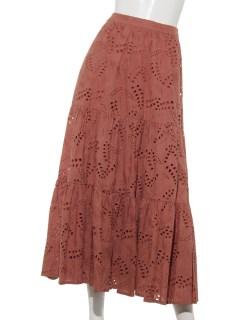 刺繍レースティアードフレアスカート
