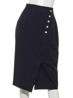 飾りドットボタン付きタイトスカート