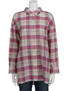 綿麻マドラスチェックBIGシャツ