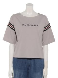 ライン入りロゴカットTシャツ