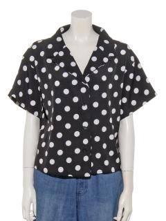 a-ドット柄半袖開襟シャツ