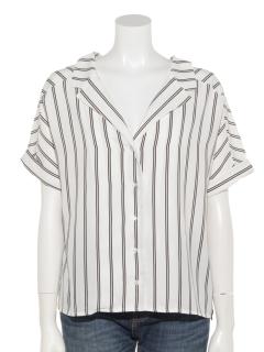 a-ストライプワイドカラー半袖シャツ