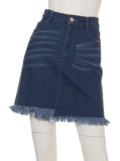 ダメージデニム台形スカート