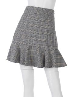 チェックペプラムスカート