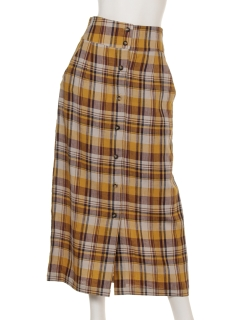 a-マドラスチェック前開きタイトスカート
