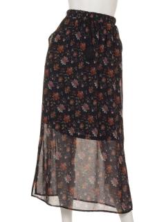 a-花柄フレアスカート