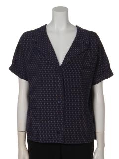 a-小紋柄ワイドカラー半袖シャツ