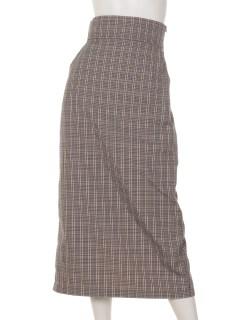 a-チェックワイドベルトタイトスカート