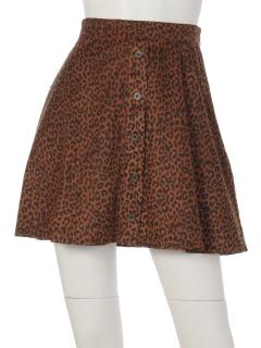 前釦レオパード台形スカート