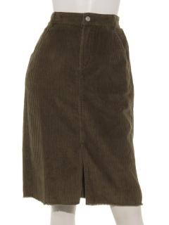 archives裾フリンジコーデュロイタイトスカート