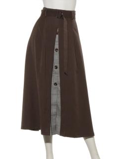 ボックスプリーツ釦スカート