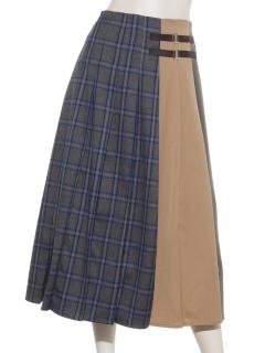 配色プリーツベルト付スカート