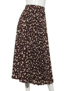 レオパードプリーツロングスカート