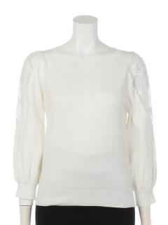 オーガンジー刺繍肩透けニット