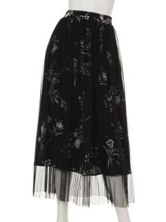 花柄チュールプリーツスカート