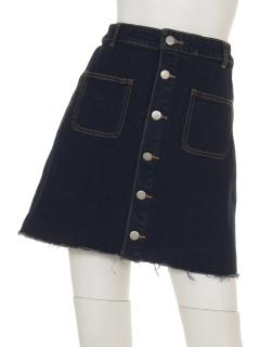 前釦デニムタイトスカート