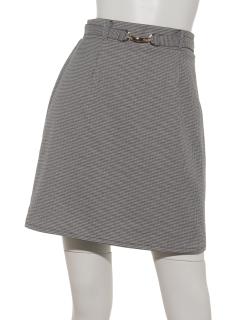 チェックベルト付台形スカート