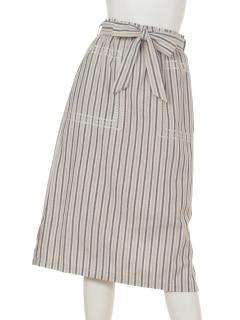 a-マルチストライプ刺繍スカート