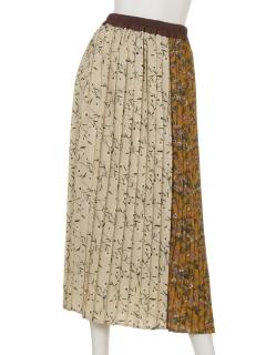 a-クレイジー花柄プリーツスカート