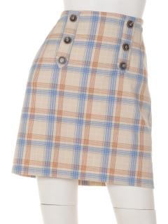 ダブル釦付チェック台形スカート