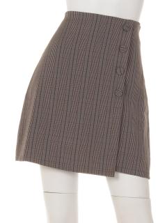 チェックシングル釦台形スカート