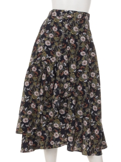 a-花柄フリルスカート