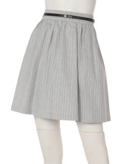 ベルト付きストライプフレアミニスカート