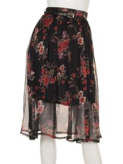 花柄シフォンギャザースカート