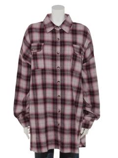 綿チェックチュニックBIGシャツ