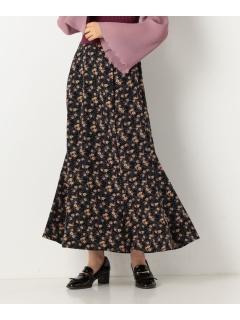 花柄ロングフレアスカート
