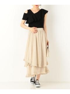 変型フレアロング花柄スカート