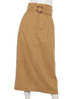 細コールベルテッドタイトスカート