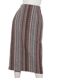 幾何ストライプジャガードタイトロングスカート