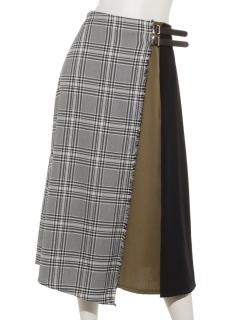 チェック配色ベルトスカート