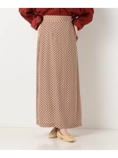 小紋柄ロングセミフレアスカート