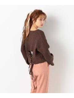 リブ編み裾リボンニット