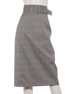 共ベルトチェックロングタイトスカート