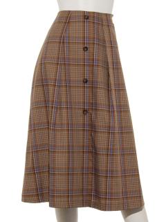 前ボタンチェックAラインスカート