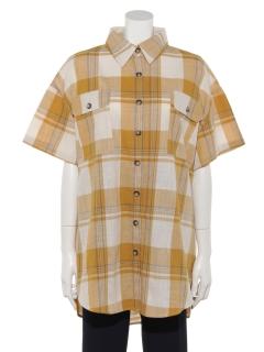 A-半袖チェックチュニックBIGシャツ