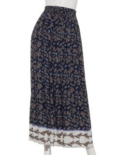 A-パネル柄ギャザーマキシスカート