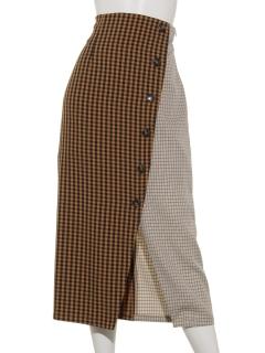 A-ブロッキングチェックタイトスカート