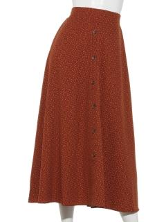 【arhives e'pice】E-フロント釦小紋柄フレアスカート