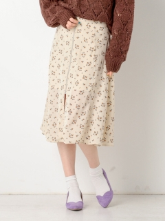 花柄フロントZIPフレアスカート